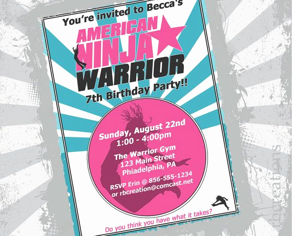 American Ninja Warrior Invitation Awesome Diy Party Ideas American Ninja Warrior Invitation