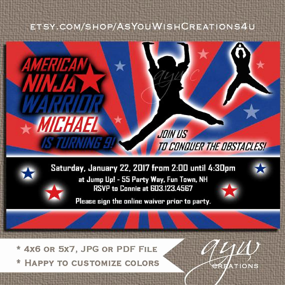 American Ninja Warrior Invitation Beautiful American Ninja Warrior Invitation American Ninja Warrior