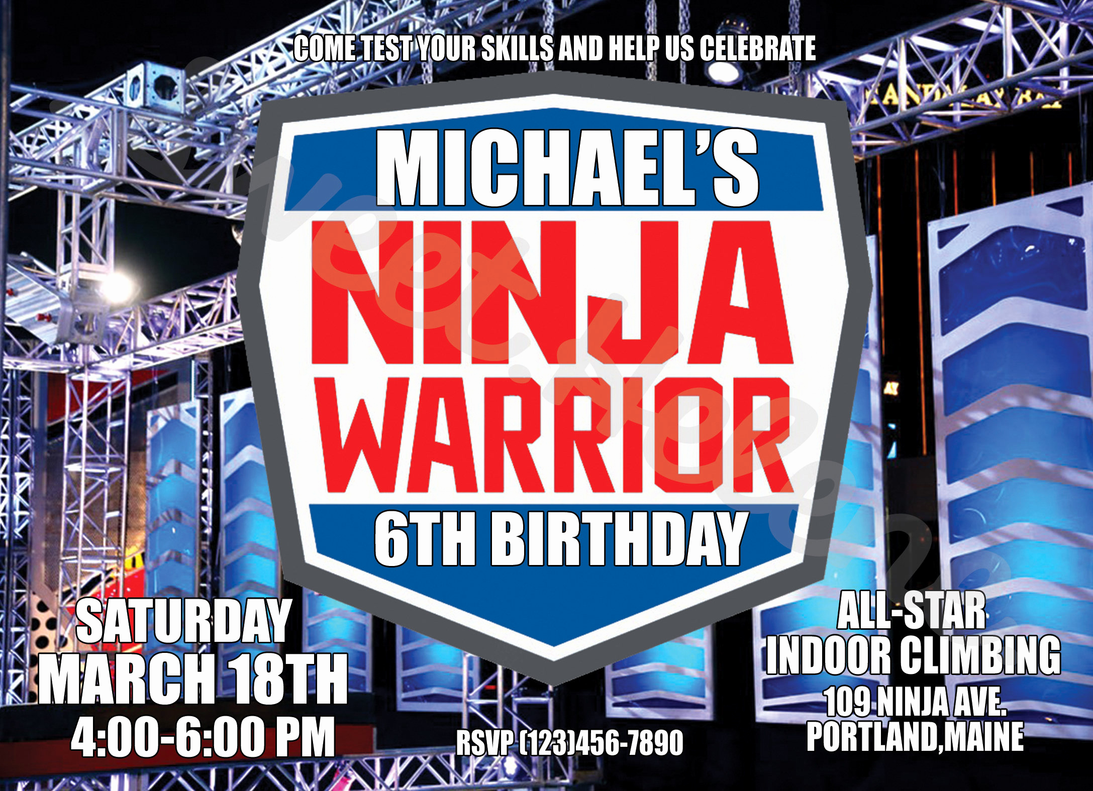 American Ninja Warrior Invitation Beautiful American Ninja Warrior Invitation Ninja Warrior Birthday