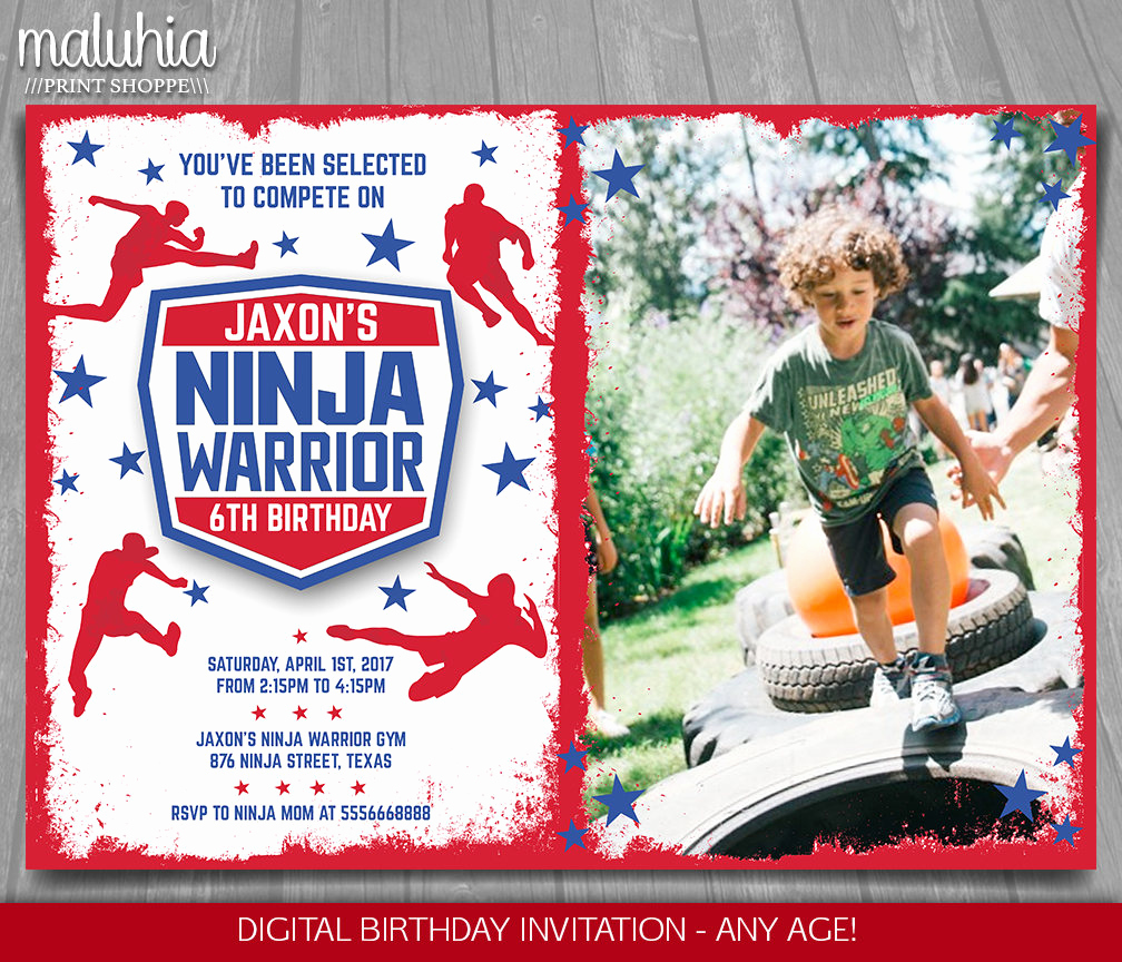 American Ninja Warrior Invitation Beautiful American Ninja Warrior Invitation Ninja Warrior Invite