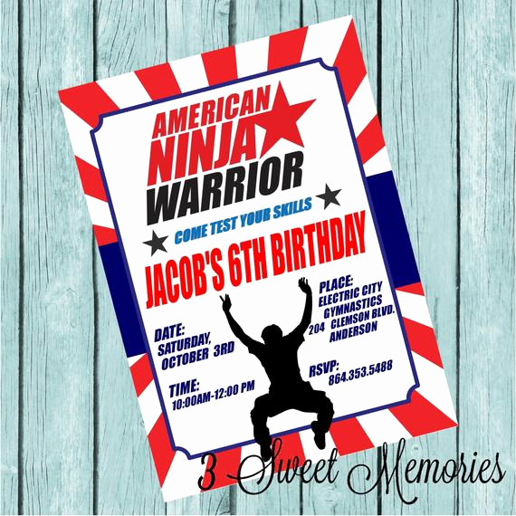 American Ninja Warrior Invitation Beautiful American Ninja Warrior Printable Invitation by 3sweetmemories