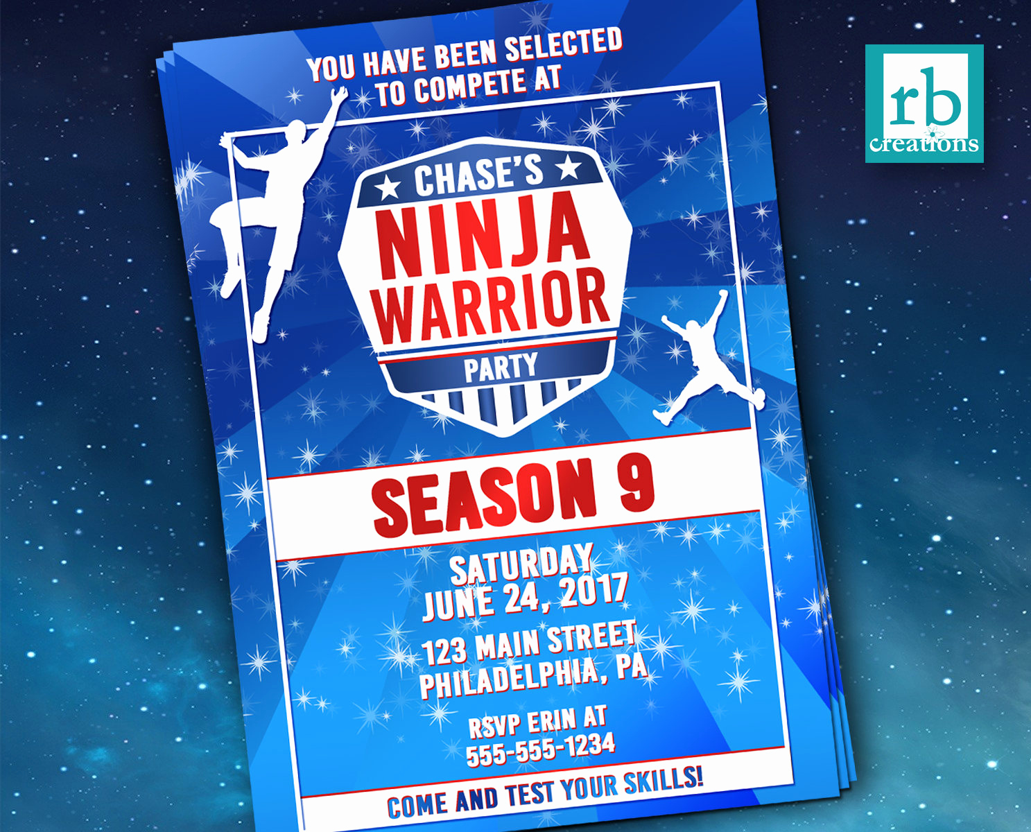 American Ninja Warrior Invitation Beautiful Printed Ninja Warrior Invitation Ninja Warrior Party Ninja