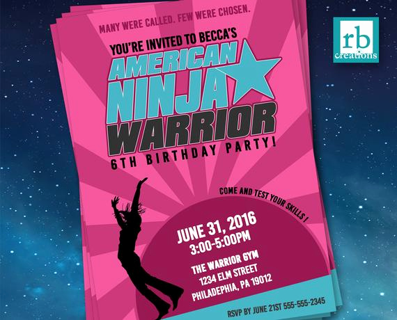 American Ninja Warrior Invitation Elegant Girl American Ninja Warrior Invitations American Ninja