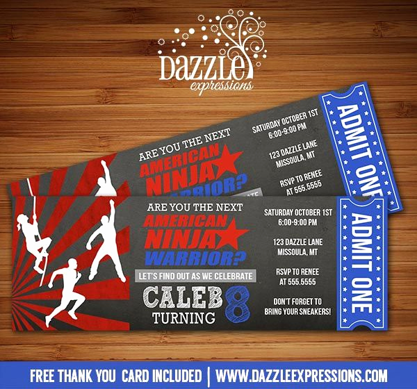 American Ninja Warrior Invitation Elegant Printable Inspired American Ninja Warrior Chalkboard