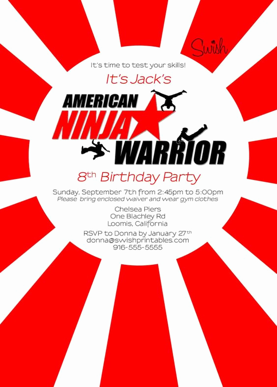American Ninja Warrior Invitation Fresh American Ninja Warrior Digital Birthday Invitation