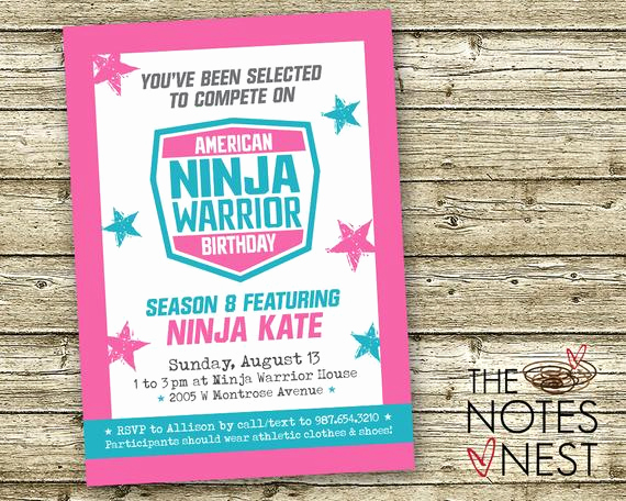 American Ninja Warrior Invitation Inspirational American Ninja Warrior Birthday Invitation Pink Aqua