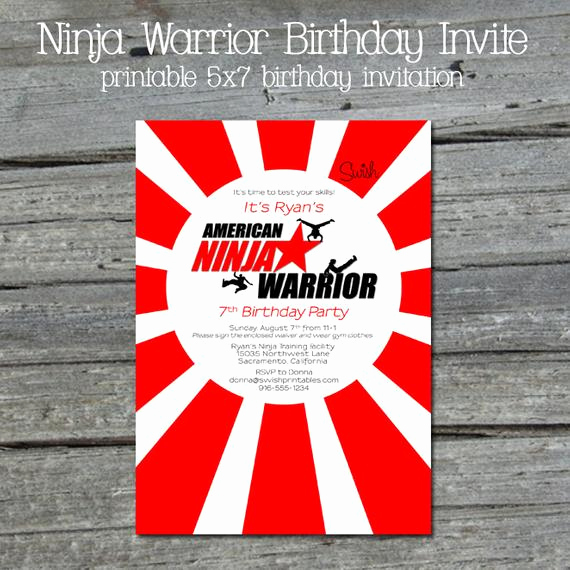American Ninja Warrior Invitation Lovely American Ninja Warrior Digital Birthday by Swishprintables