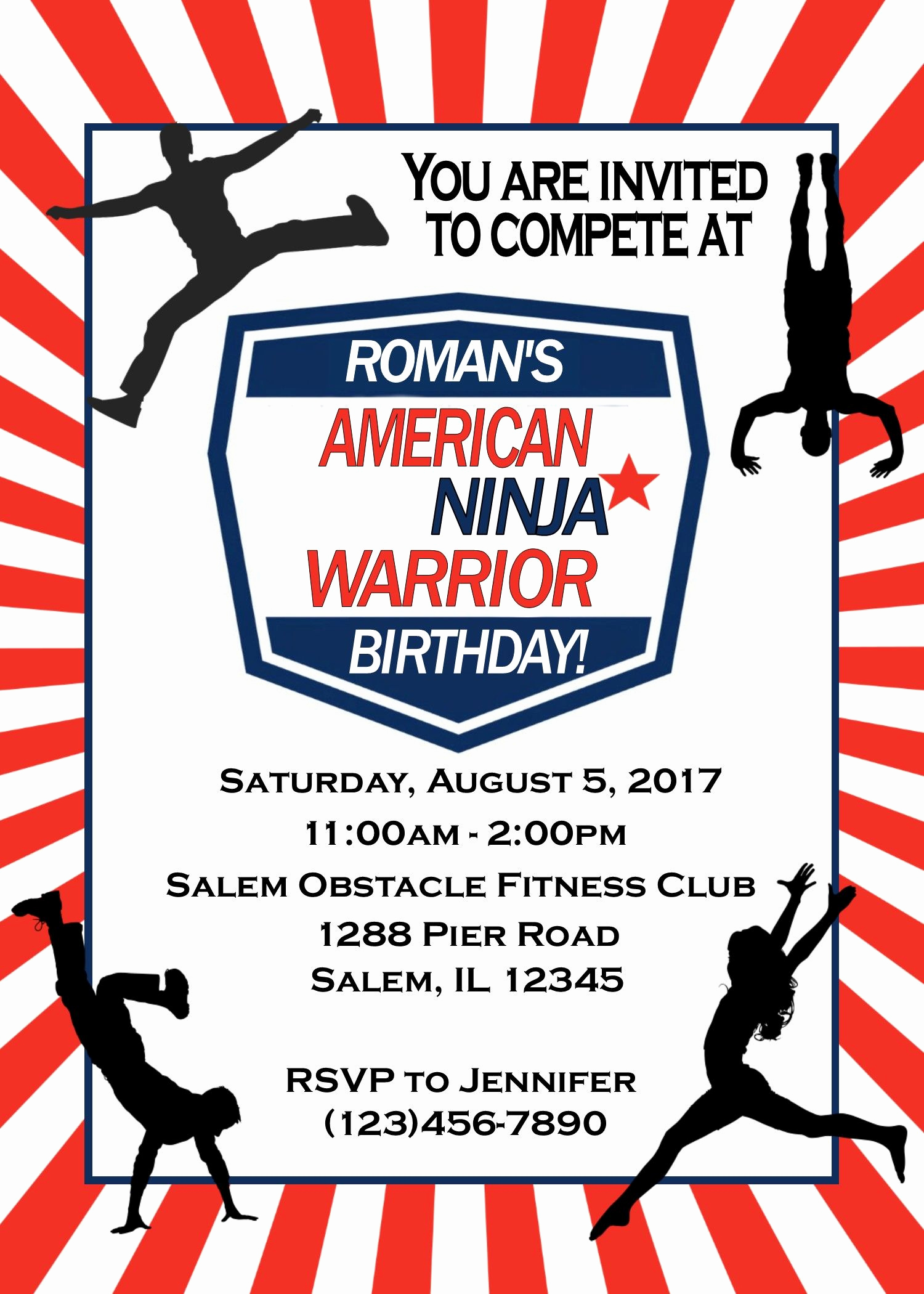 American Ninja Warrior Invitation Lovely New American Ninja Warrior Birthday Invitation Digital