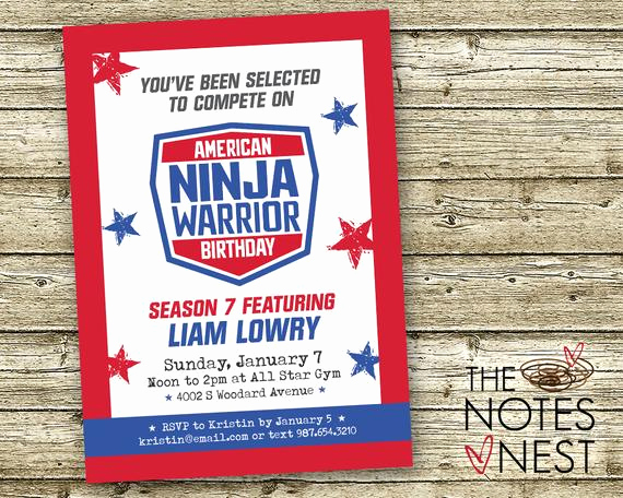 American Ninja Warrior Invitation Luxury American Ninja Warrior Birthday Invitation Custom Printable