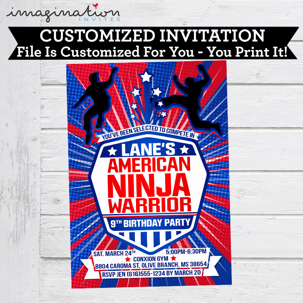 American Ninja Warrior Invitation Luxury American Ninja Warrior Invitation Anw Birthday Invitations Boy