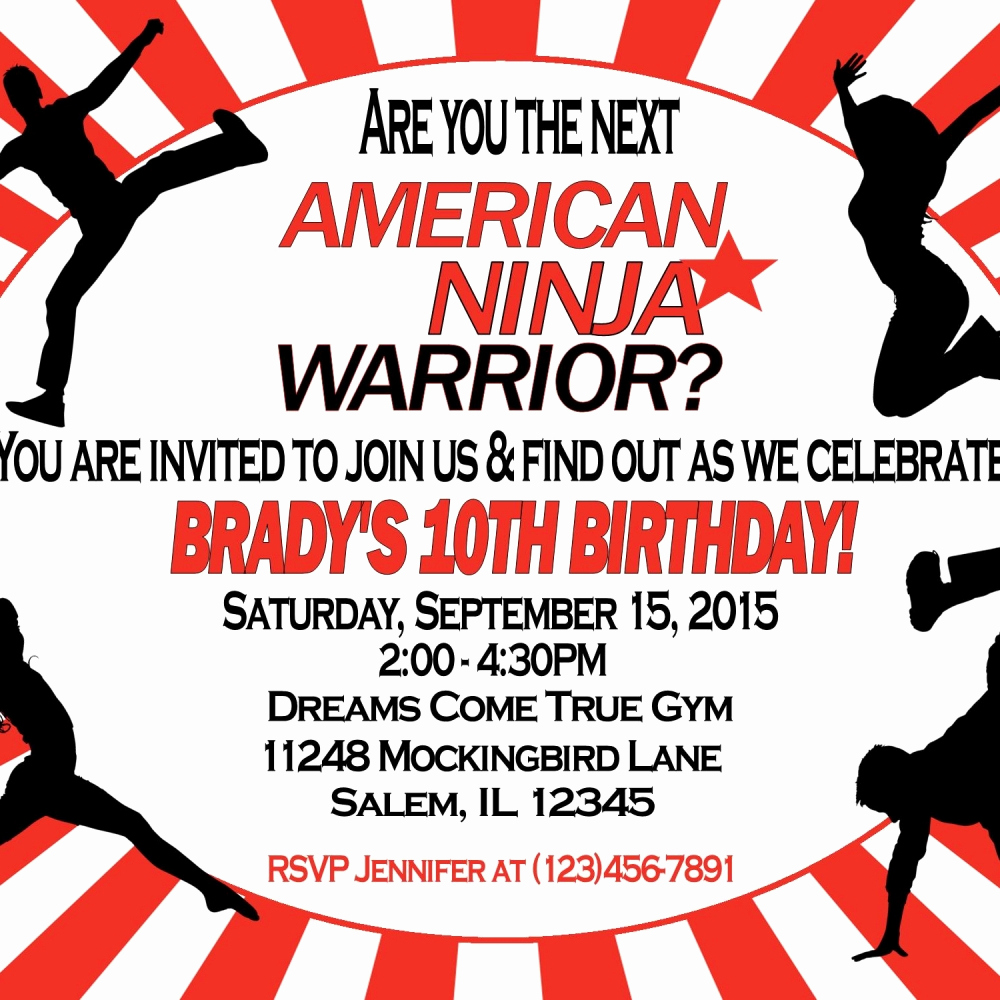 American Ninja Warrior Invitation Luxury American Ninja Warrior Invitation