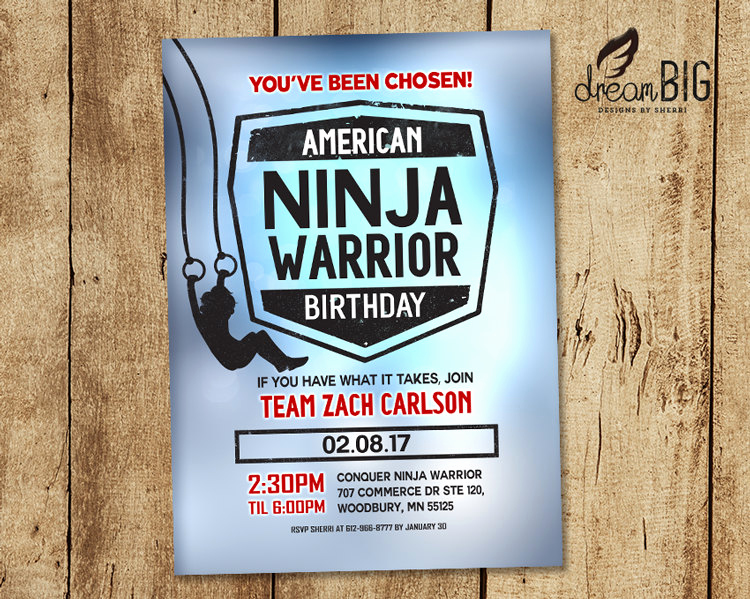 American Ninja Warrior Invitation New American Ninja Warrior Birthday Party Invite Boy or Girl