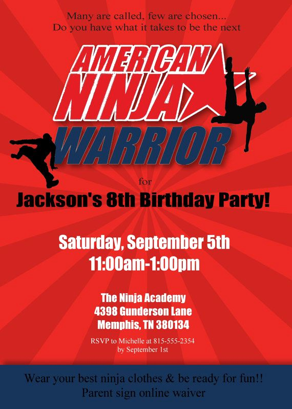 American Ninja Warrior Invitation New American Ninja Warrior Invitation Ninja Birthday