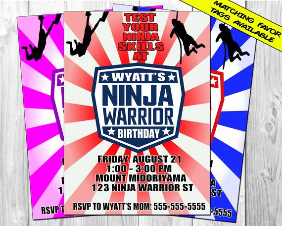 American Ninja Warrior Invitation New American Ninja Warrior Invitation Ninja Warrior Birthday
