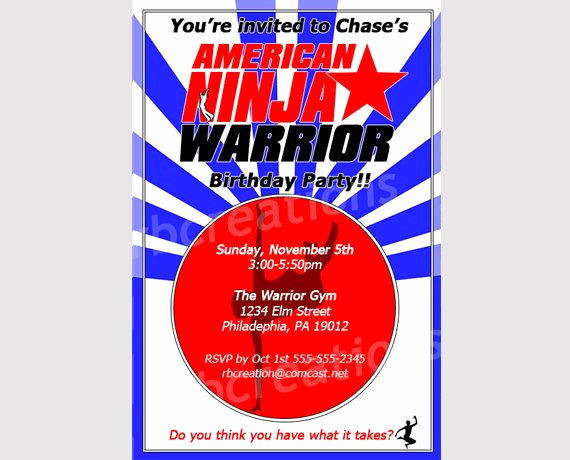 American Ninja Warrior Invitation New American Ninja Warrior Invitations American Ninja Warrior