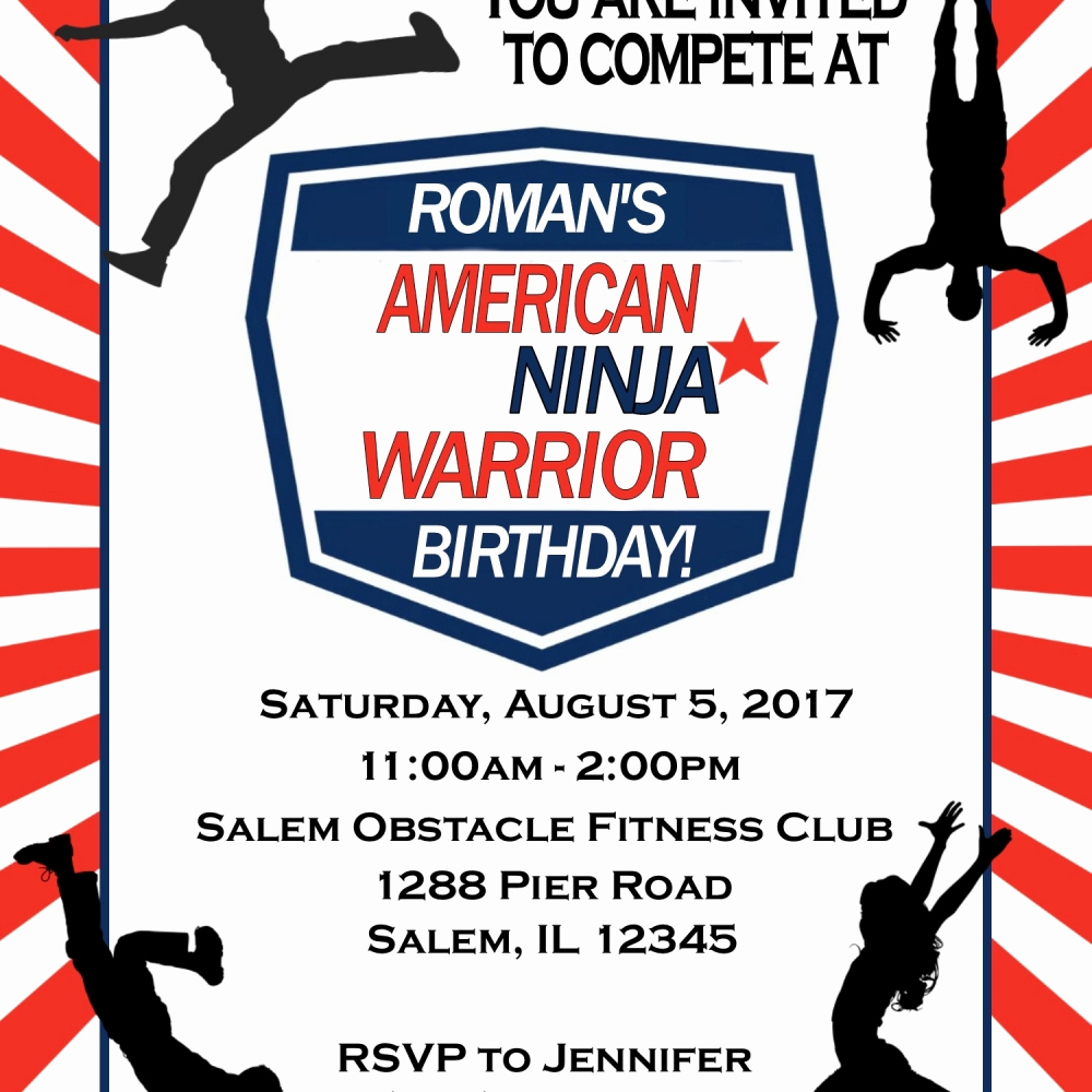 American Ninja Warrior Invitation Unique American Ninja Warrior Birthday Invitation
