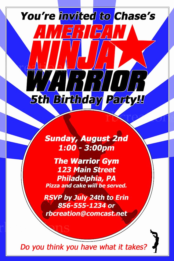 American Ninja Warrior Invitation Unique American Ninja Warrior Birthday Party Invitations by