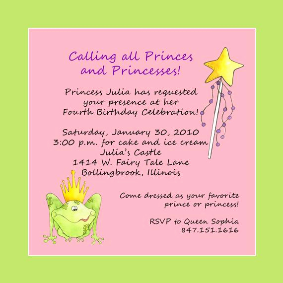 Anniversary Party Invitation Wording Inspirational Princess theme Birthday Party Invitation Custom Wording