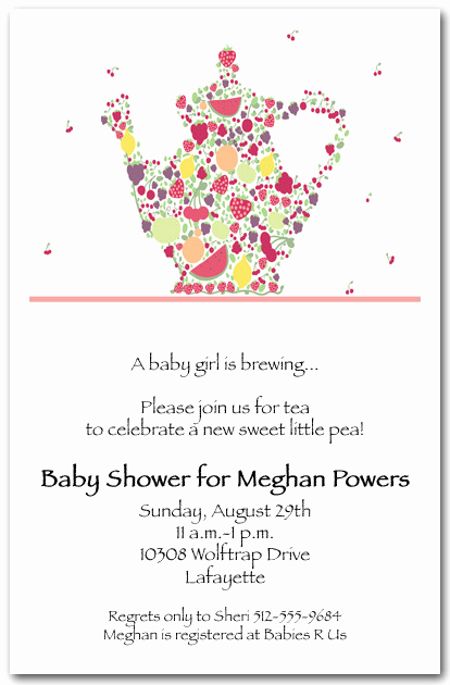 Appetizer Party Invitation Wording Awesome Fruit Teapot Invitation Tea Party Invitation Bridal
