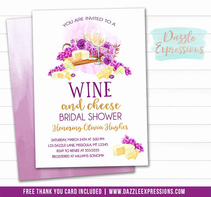 Wine and Cheese Bridal Shower Invitation FREE thank you card