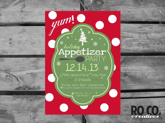 Appetizer Party Invitation Wording Luxury Items Similar to Polka Dot Holiday Christmas Appetizer