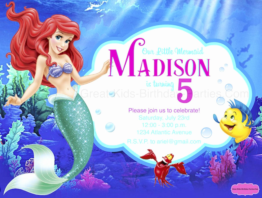 Ariel Invitation Template Free Awesome Little Mermaid Font