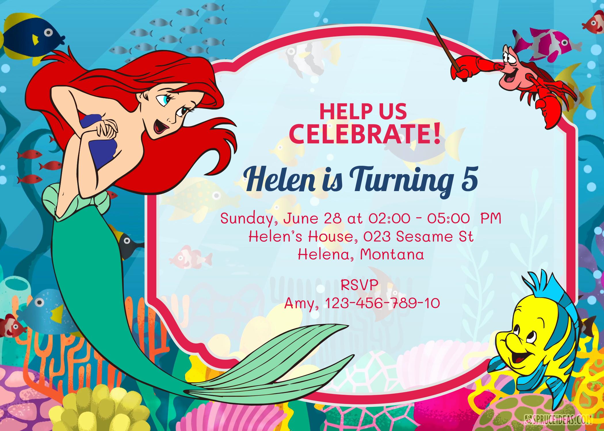 Ariel Invitation Template Free Beautiful Princess Ariel Disney Birthday Invitation Template Printable