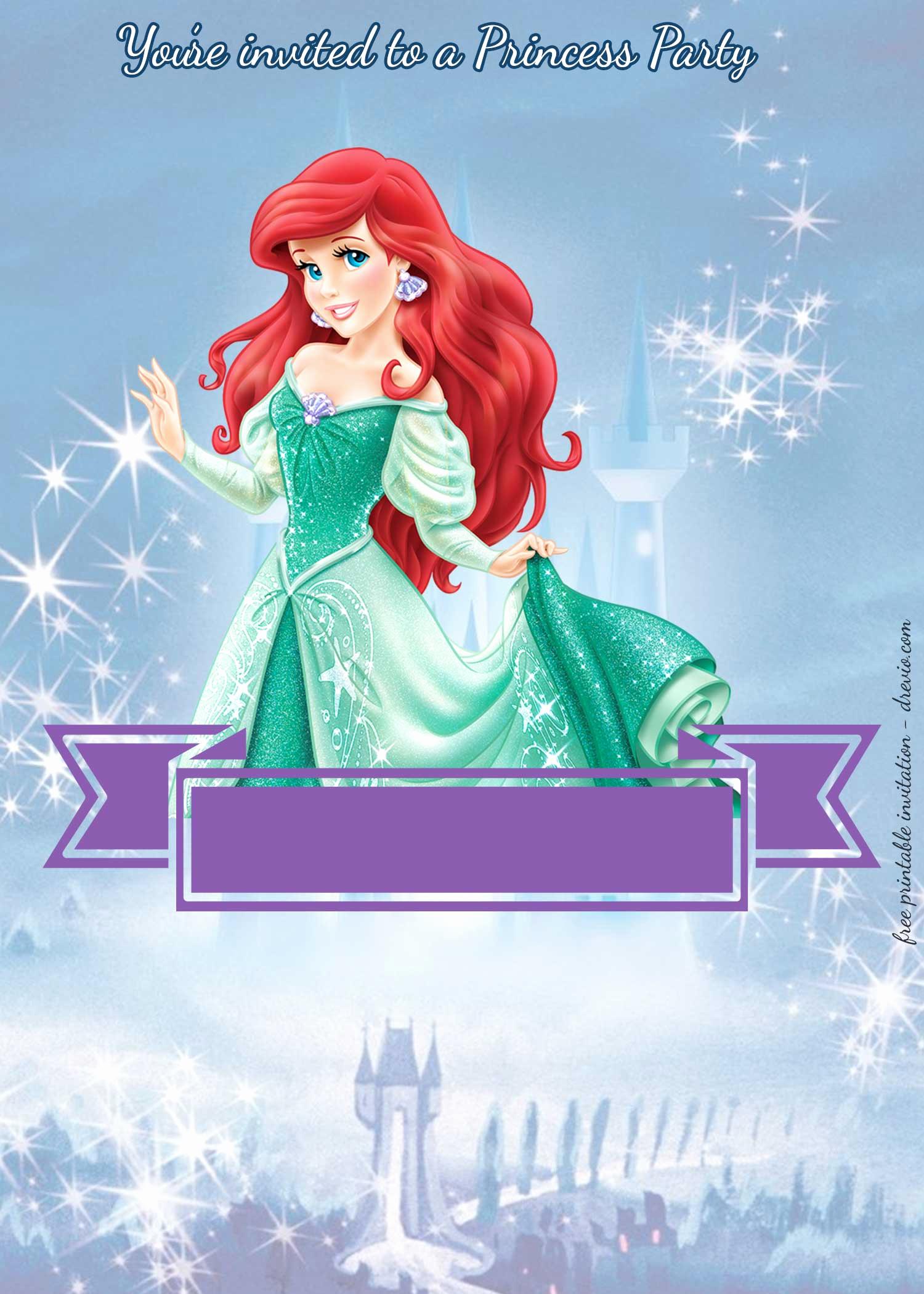 Ariel Invitation Template Free Best Of Free Princess Party Birthday Invitation Templates