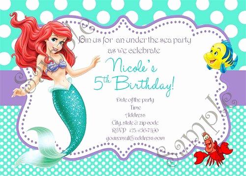 Ariel Invitation Template Free Inspirational Little Mermaid Birthday Party Invitation Ariel Invitation
