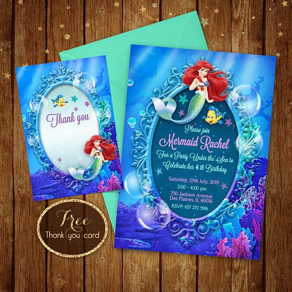 Ariel Invitation Template Free Luxury Little Mermaid Invitation Printable Ariel Invitation