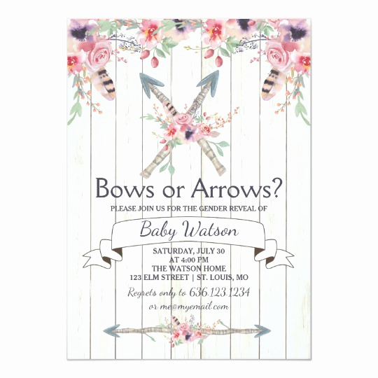 Arrow Of Light Invitation New Boho Bows or Arrows Gender Reveal Party Card