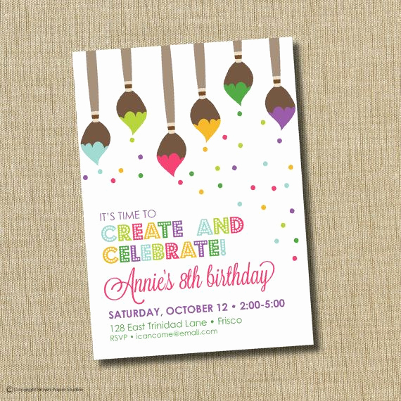 Art Party Invitation Template Lovely Paint Party Invitation Art Birthday Party Invitation Art