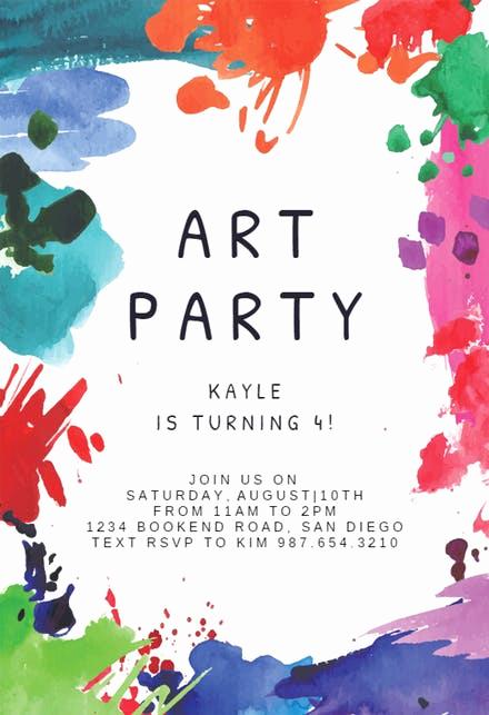 Art Party Invitation Template Luxury Invitation Templates Free