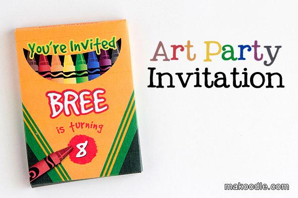 Art Party Invitation Template Unique Art Birthday Party Invite Makoodle