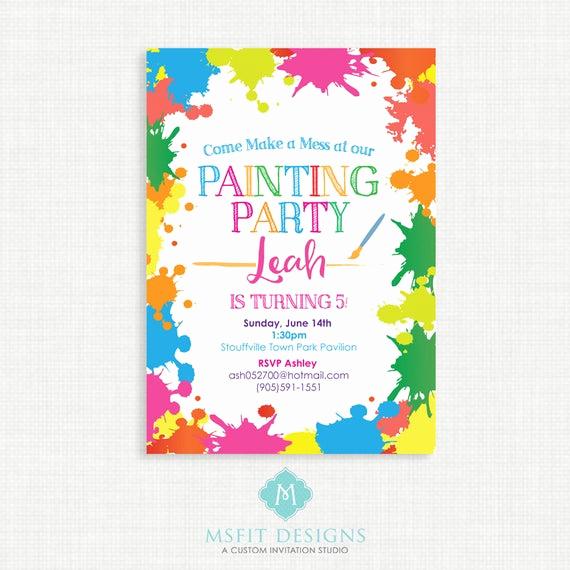 Art Party Invitation Template Unique Paint Party Birthday Invitation Painting Birthday Printable