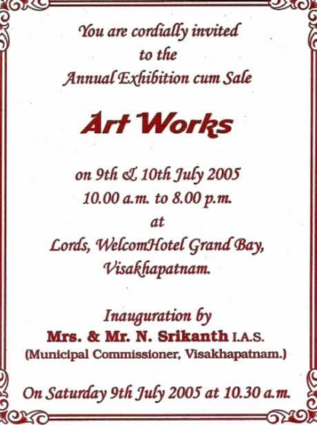 Art Show Invitation Template Fresh Art Exhibition Invites Samples Google Search