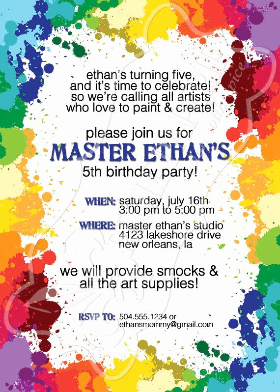 Art Show Invitation Template Luxury Art Paint Party Birthday Party Invitation Paint by