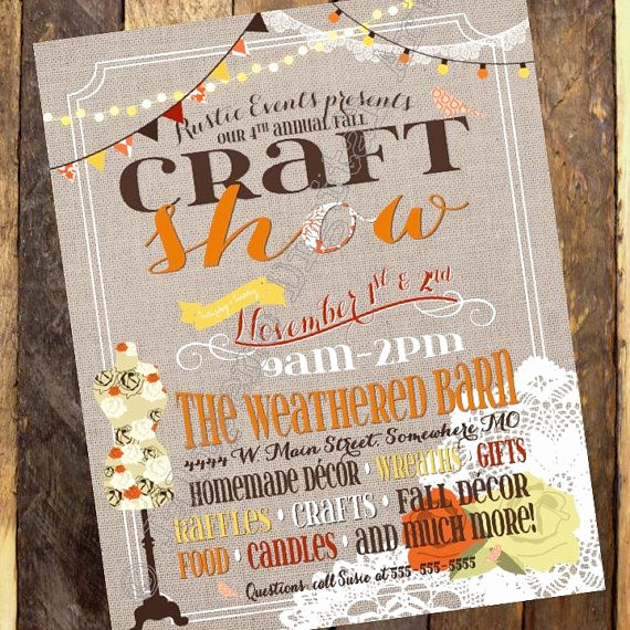 Art Show Invitation Wording Elegant Fall Craft Show Printable Poster Flyer Invitation by
