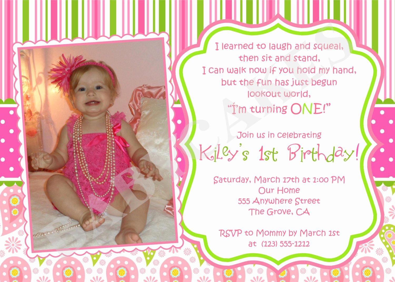 Baby 1st Birthday Invitation Fresh Baby Girl 1st Birthday Invitations