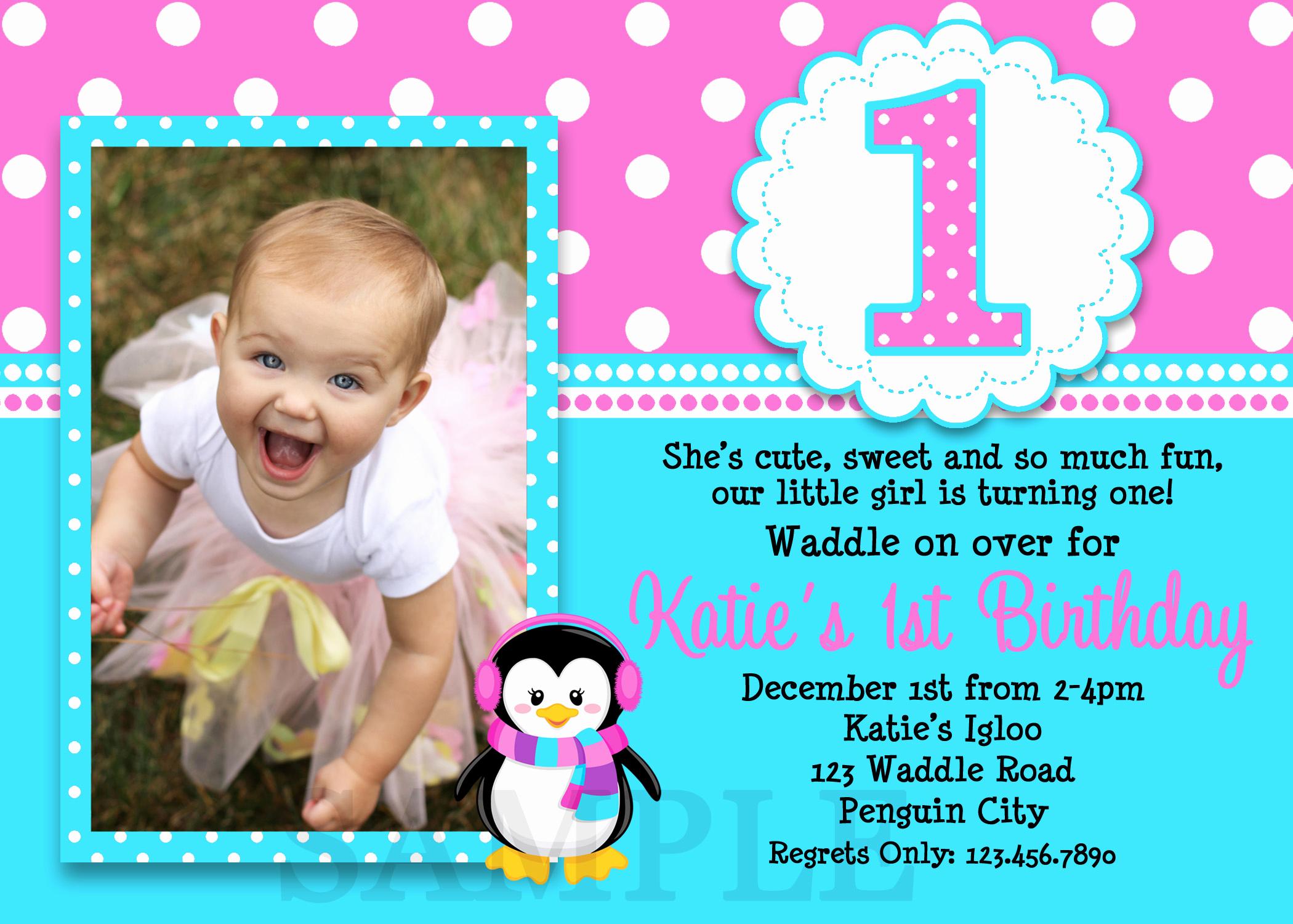 Baby 1st Birthday Invitation Inspirational 1st Birthday Invitations Girl Free Template Baby Girl S