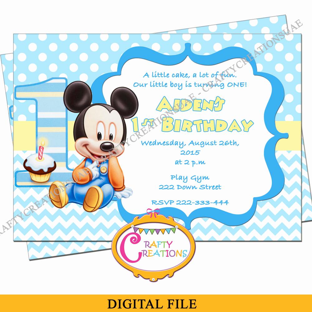 Baby 1st Birthday Invitation Luxury Baby Mickey Mouse Birthday Invitation Baby Mickey First