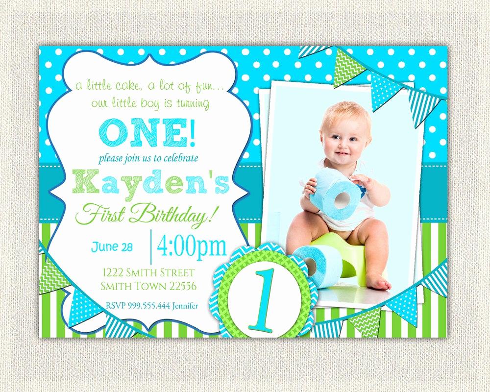 Baby 1st Birthday Invitation Luxury Boys 1st Birthday Invitation Blue and Green Dots Stripes