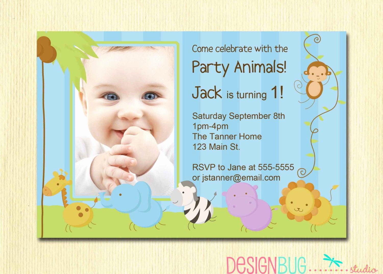 Baby 1st Birthday Invitation New First Birthday Boy Invitation Baby Jungle Safari Party