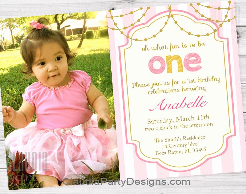 Baby 1st Birthday Invitation New Girl First Birthday Invitations 1st Birthday Party