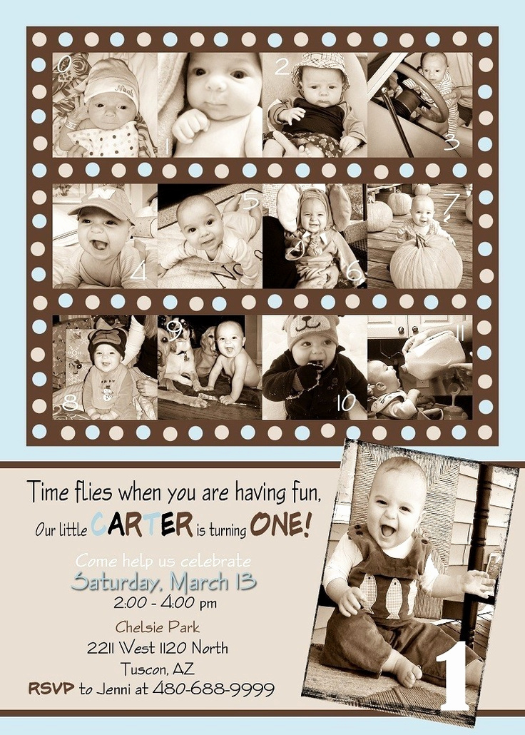 Baby Boy Birthday Invitation Awesome Custom Card Collage Baby Boy First Birthday