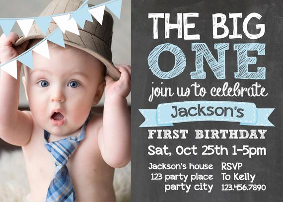 Baby Boy Birthday Invitation Awesome Items Similar to Chalkboard First Birthday Invite Card 1st