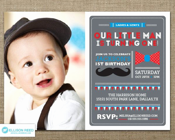 Baby Boy Birthday Invitation Beautiful Download now Free Template Little Man Birthday Party