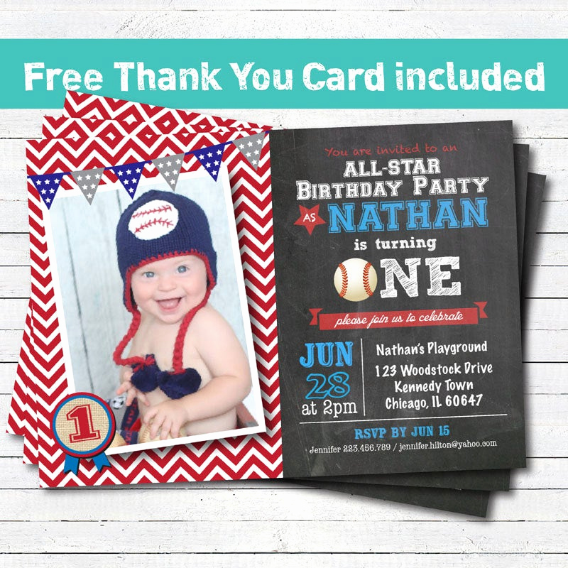 Baby Boy Birthday Invitation Elegant Baseball Birthday Invitation Baby Boy First 1st Birthday