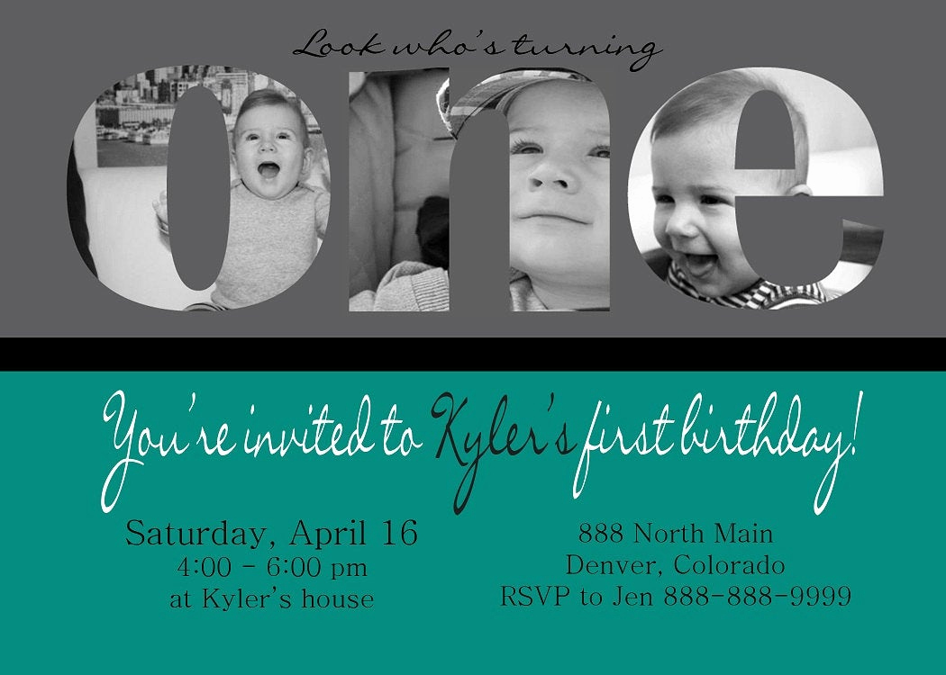 Baby Boy Birthday Invitation Lovely Custom Card Collage Baby Boy First Birthday Invitation