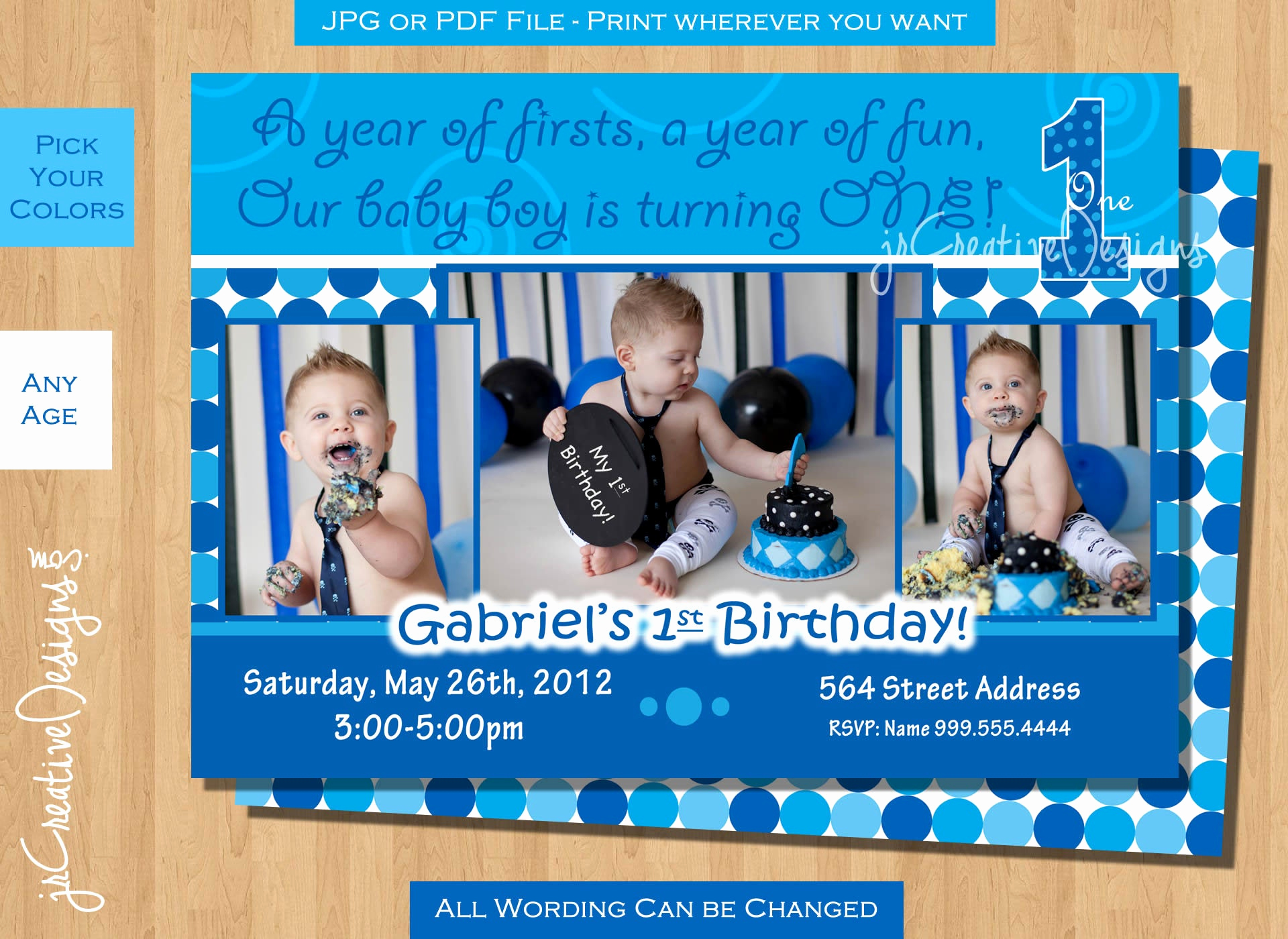 Baby Boy Birthday Invitation New Everything E Boy Invite Everything E Boy Birthday